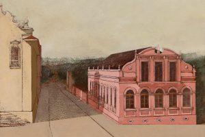 Entre as obras expostas no Solar no Rosário, está uma pintura do ambiente por Ruben Esmanhotto.