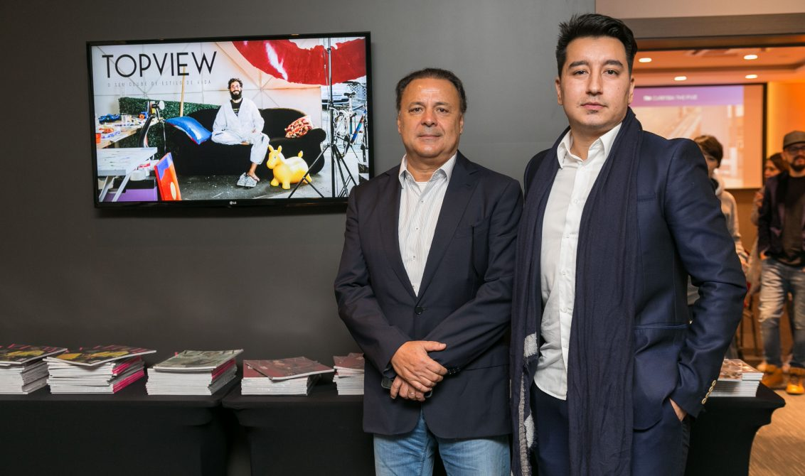O presidente do Grupo RIC, Leonardo Petrelli e o publisher da TOPVIEW, Marcus Yabe.