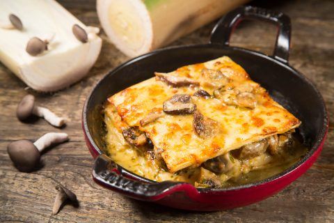 A lasanha de pupunha com recheio de cogumelos do restaurante Pobre Juan. Foto: Mario Rodrigues Jr./Divulgação